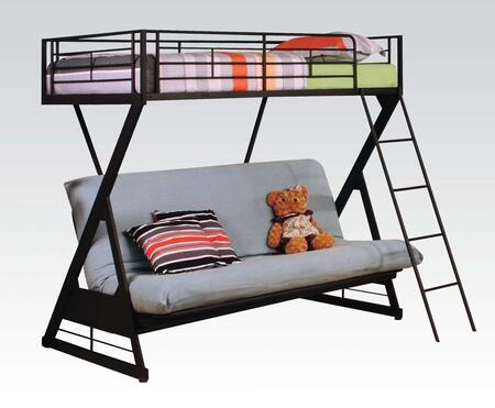 Zazie Collection 37134 Twin Over Full Size Futon Bunk Bed with Reversible Ladder  Easy Access Guardrail  Slat System Included and Steel Tube Construction in