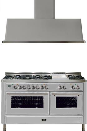 """2-Piece Stainless Steel Kitchen Package with UMT150FDMPI 60"""""""" Freestanding Dual Fuel Range (7 Burners  Griddle  2 Convection Ovens) and UAM150I 60"""""""" Wall Mount"""" 721652"""