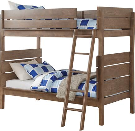 Ranta Collection 37400 Twin Over Twin Size Bunk Bed with Slat System Included  Easy Access Guardrail  Removable Ladder  Pine and Engineered Wood Construction