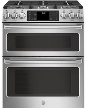 CGS995SELSS 30 inch  Slide In Front Control Double Oven with Convection Gas Range  6.7 cu. ft. Capacity  21 000 BTU Multi-Ring Burner  Wi-Fi Connect  and Chef