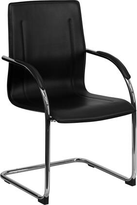 BT-509-BK-GG Black Vinyl Side Chair with Chrome Sled