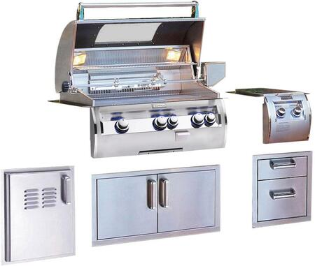 Grill Package with E660I4LANW Built In Natural Gas Grill  32814 Double Side Burner  53802SC Double Drawer  53934SC Double Door  53820SCTL Single Access Door