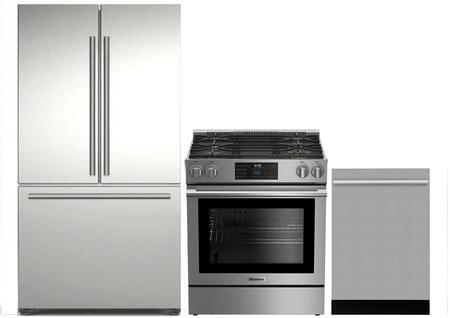 3-Piece Kitchen Package with BRFD2230SS 36 inch  French Door Refrigerator  BGR30420SS 30 inch  Slide In Gas Range  and DWT55100SS 24 inch  Built In Fully Integrated