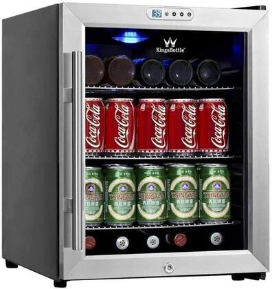 KBU52SS 38 Can Compressor Mini Fridge with Built-in Digital Display for Easy Thermostat Monitoring  Interior Blue LED Lighting  Metal Trimmed Glass Door and