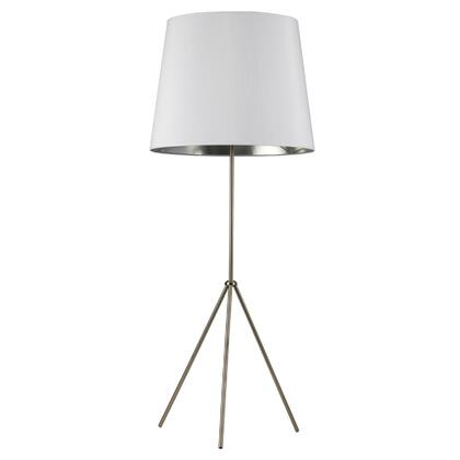 OD4L-F-691-SC 1 Light 3 Leg Oversize Drum Floor Lamp With White On Silver Shade  Satin Chrome