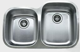 D376.60.40.10R 32 inch  Wide Undermount Double Bowl Sink - 18-Gauge: Stainless Steel Big Bowl Location