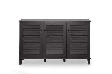 Baxton Studio FP-04LV-Espresso Warren Shoe-Storage Cabinet with 3 Hinged Doors  5 Fixed-Height Shelves  Tapered Legs  Medium-Density Fiberboard and