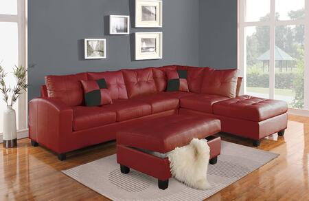 Kiva Collection 51185 Reversible Sectional with Left Facing Sofa  Chaise  Pillows  Pocket Coil Seating  Bonded Leather Match Upholstery  Tufted Back and Seat