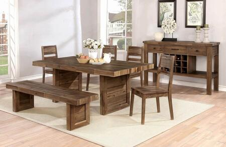 Tucson Collection 108171-S7 7-Piece Dining Room Set with Rectangular Dining Table  4 Side Chairs  Bench and Server in