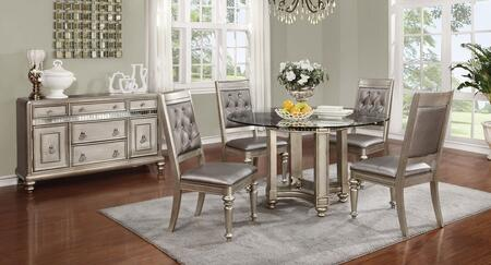 Danette Collection 106470CS 6 PC Dining Room Set with Round Dining Table + 4 Side Chairs + Server in Metallic Platinum