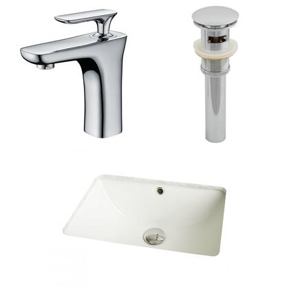 AI-13089 18.25-in. Width x 13.5-in. Diameter CUPC Rectangle Undermount Sink Set In Biscuit With Single Hole CUPC Faucet And