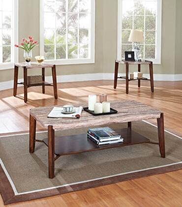 Nadav Collection 80085 3 PC Living Room Table Set with Faux Marble Top  Tapered Legs  Bottom Shelf  Paper Veneer and Solid Birch Wood Construction in Brown