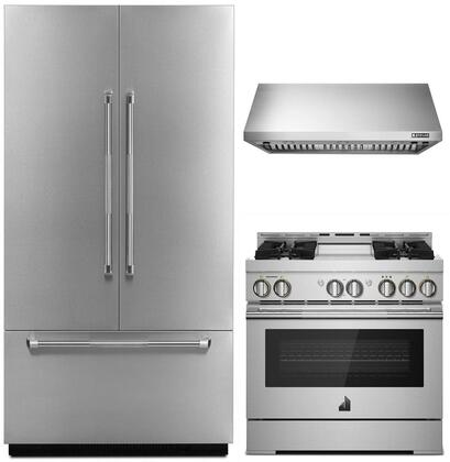 4-Piece Kitchen Package with JF42NXFXDE 42 inch  Panel Ready Built-In French Door Refrigerator  JGRP436WP 36 inch  Freestanding Gas Range  JXW9036WP 36 inch  Wall Mount
