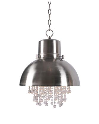 Nicole 93590BS 1-Light Pendant Ceiling Light with Glass Beads and supports 1-100 Watt (M) Bulb in Brushed Steel