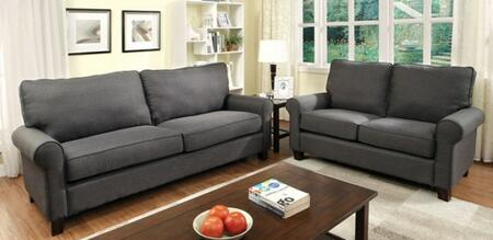 Hensel Collection CM6760GY-SL 2-Piece Living Room Set with Stationary Sofa and Loveseat in