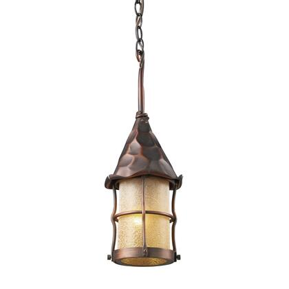 388-AC Rustica 1-Light Outdoor Pendant in Antique Copper with Amber Scavo
