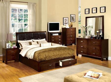 Enrico III Collection CM7066QBEDSET 6 PC Bedroom Set with Queen Size Platform Bed + Dresser + Mirror + Chest + Nightstand + Media Chest in Brown Cherry