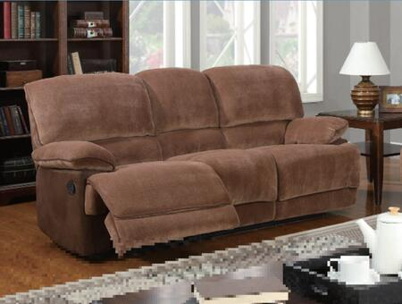 U9968-Chmp Br Sugar/MF101-S Microfiber Recliner Sofa  Plush Seats/Back/Arms  Reclining Mechanism  in Brown