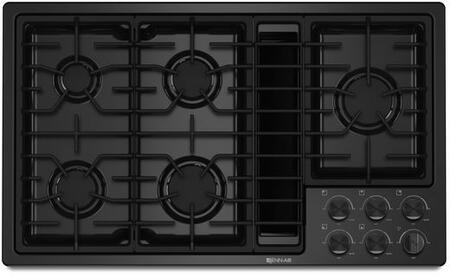 JGD3536BB 36 inch  Downdraft Gas Cooktop with 5 Sealed Burners  3 Speed Fan  425 CFM Blower  Knob Controls  and Flame-Sensing Re-ignition  in