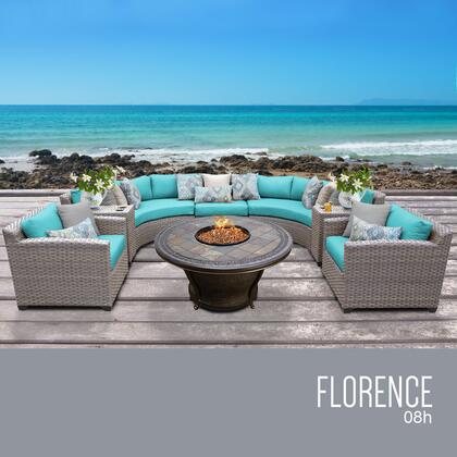 FLORENCE-08h-ARUBA Florence 8 Piece Outdoor Wicker Patio Furniture Set 08h with 2 Covers: Grey and