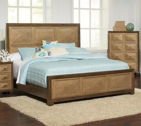 Wheatland Collection 204601KE King Size Panel Bed with Clean Line Design  Molding Details  Decorative Raised Panels and Two Tone Finish in Wire Brush Sage and