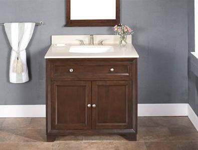 WF6819-36/DC Single Sink Wood Vanity With Marble Top and