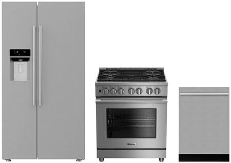 3-Piece Kitchen Package with BSBS2230SS 36 inch  Side by Side Refrigerator  BGRP34520SS 30 inch  Freestanding Gas Range  and a free DWT55300SS 24 inch  Built In Fully