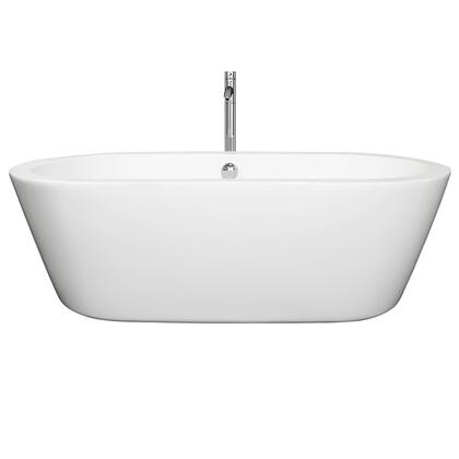 WCOBT100371ATP11BN 71 in. Center Drain Soaking Tub in White with Floor Mounted Faucet in Brushed