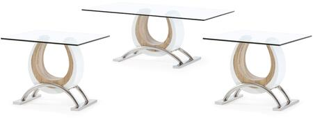 T4202C2E 3-Piece Living Room Table Set with Coffee Table and 2 End Tables in White and