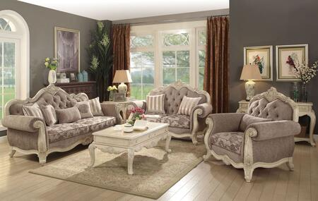 Ragenardus Collection 560206SET 6 PC Living Room Set with Sofa + Loveseat + Chair + Coffe Table + Sofa Table + End Table in Grey Fabric and Antique White