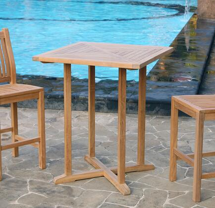 Jakarta Collection TK-SQ-BAR 36 inch  Teak Bar Table with Grade A Teak Hardwood  Stretchers and Sanded