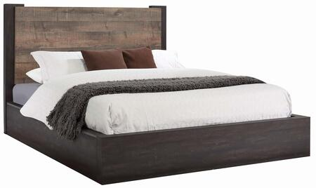 Weston Collection 206311KW California King Size Bed with Low Profile Footboard and Sturdy Wood Construction in Weathered Oak and Rustic