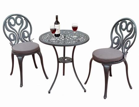 DM-3524 Sunset Swirl Bistro Set with Table  2 Plush Seat Cushion Chairs  Bottom Shelf  Cabriole Legs and Aluminum Material in Antique Bronze