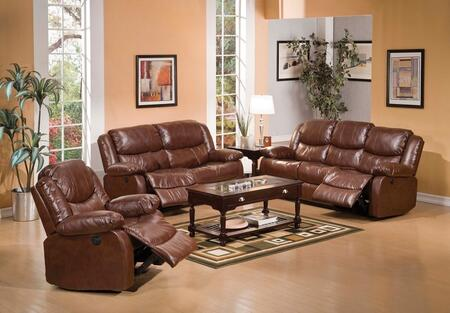 Fullerton 50200SLCR 3 PC Living Room Set with Sofa + Recliner + Loveseat and Console in Brown