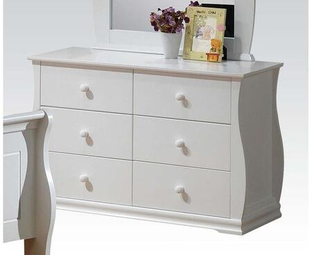 Nebo Collection 30106 39 inch  Dresser with 6 Drawers and Simple Pull Hardware in White