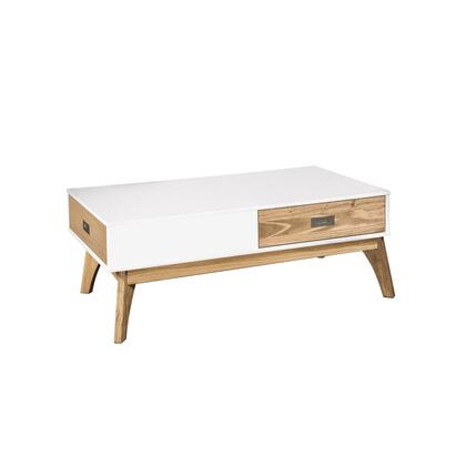 CS96508 Rustic Mid-Century Modern 2-Drawer Jackie 2.0 Coffee Table In White And Natural