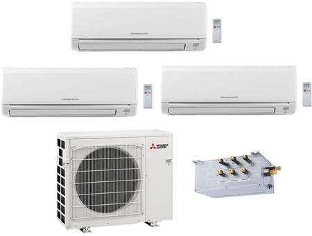 Triple Zone Mini Split Air Conditioner System with 33000 BTU Cooling Capacity  One 6K BTU  One 12K BTU and One 15K BTU Indoor Units  and Outdoor 864777