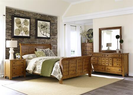 Grandpa's Cabin Collection 175-BR-KSLDMCN 5-Piece Bedroom Set with King Sleigh Bed  Dresser  Mirror  Chest and Night Stand in Aged Oak