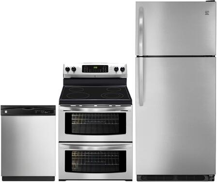 4-Piece Stainless Steel Kitchen Package with 60085 Top Freezer Refrigerator  97613 Freestanding Double Oven Electric Range  80323 Over-the-Range