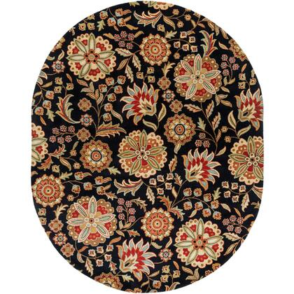 Athena Collection ATH5017-810OV Oval 8' x 10' Area Rug  Hand Tufted with Wool Material in Black and Red