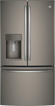 GE GFD28GMLES 36 Inch French Door Refrigerator with 27.8 cu. ft. Total Capacity, 5 Glass Shelves, 9.2 cu. ft. Freezer Capacity, in Slate