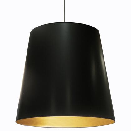 OD-XL-698 1 Light Tapered Drum Pendant With Black On Gold