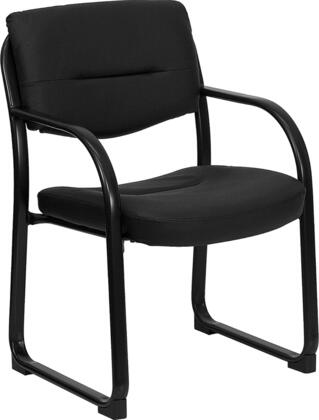 BT-510-LEA-BK-GG Black Leather Executive Side Chair with Sled