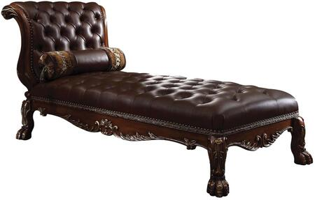 Dresden 96487 82 inch  Chaise with Accent Pillow  Solid Chinese Wood Frame  Crystal-Like Button Tufted Cushion and PU Leather Upholstery in Cherry Oak