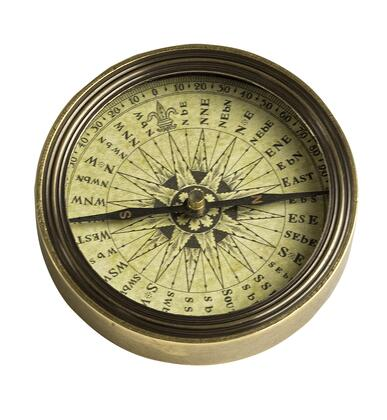 CO027 Polaris Compass with Brass & Glass Material  in Distressed French