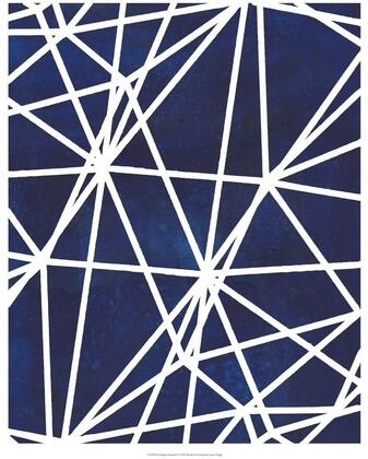 Wall Decor Collection 960083 2 PC Wall Arts with Square Shapes  Made in the USA  Geometric Designs  Blue/White Prints and Metal Frame in Chrome