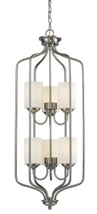 "Cardinal 434-40-BN 15"""" 6 Light Pendant Transitional  Fusionhave Steel Frame with Brushed Nickel finish in Matte"" 793465"