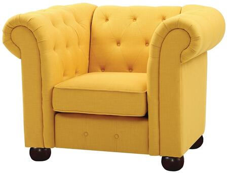 G497-C 48 inch  Armchair with Dacron Wrapped Cushions  Removable Rolled Arms  Bun Feet  Fabric Upholstery  Tufted Back And Front Rail in Yellow