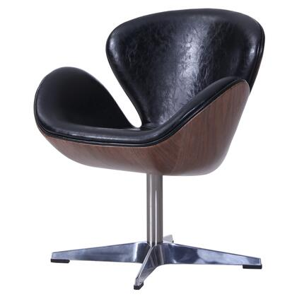 Clayton Collection 6300042-301 PU Swivel Chair with Dark Walnut Frame and Faux Leather Upholstery in Dakota
