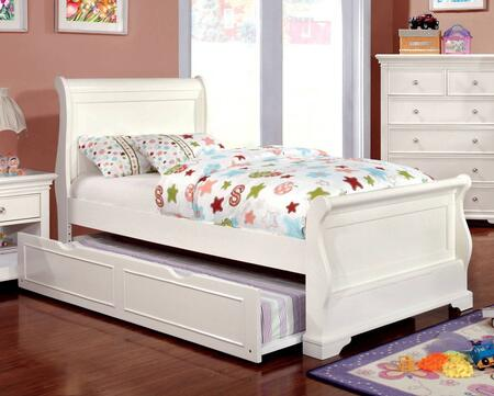Mullan Collection CM7944WH-T-BED-TRUND Twin Size Sleigh Bed with Trundle  Soft Curved Design  Slat Kit Included  Solid Wood and Wood Veneers Construction in
